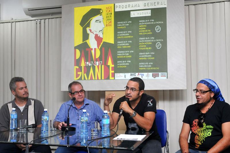 conferencia-de-prensa-iv-festival-de-musica-latinoamericana-y-caribena-patria-grande-de-izquierda-a-derecha-sebastian-heredia-organizador-de-patria-grande-alexis-triana-director-de-comunicacion-del-mincult-rubiel-garcia-presidente-de-la-ahs-alberto-munoz-productor-de-la-agencia-cubana-de-rock