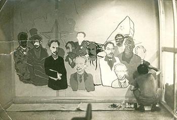 Muestra colectiva de paneles realizados in situ,concebida por Fayad Jamís, como tributo a Martí (1973).