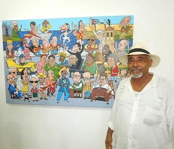 Lacoste junto a una de sus obras
