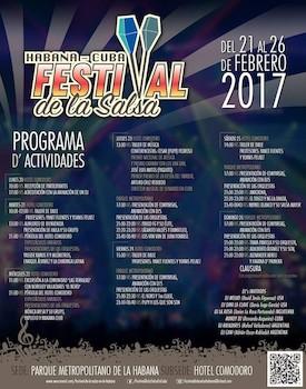 Programa de Actividades II Festival Internacional de la Salsa en Cuba, 2017.
