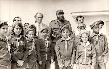 El Cmte. Fidel Castro en recibimiento a Michel Trudeau